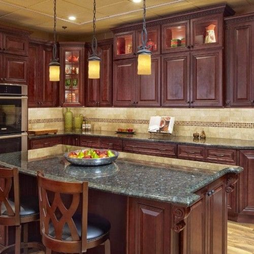 Maple Kitchen Countertops: Awesome Maple Kitchen Cabinets With Black Countertops And