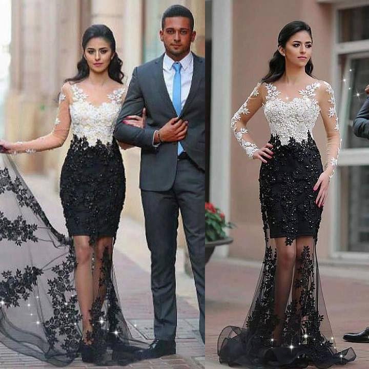 White Top Black Bottom Prom Dress Long Sleeves Formal Dress