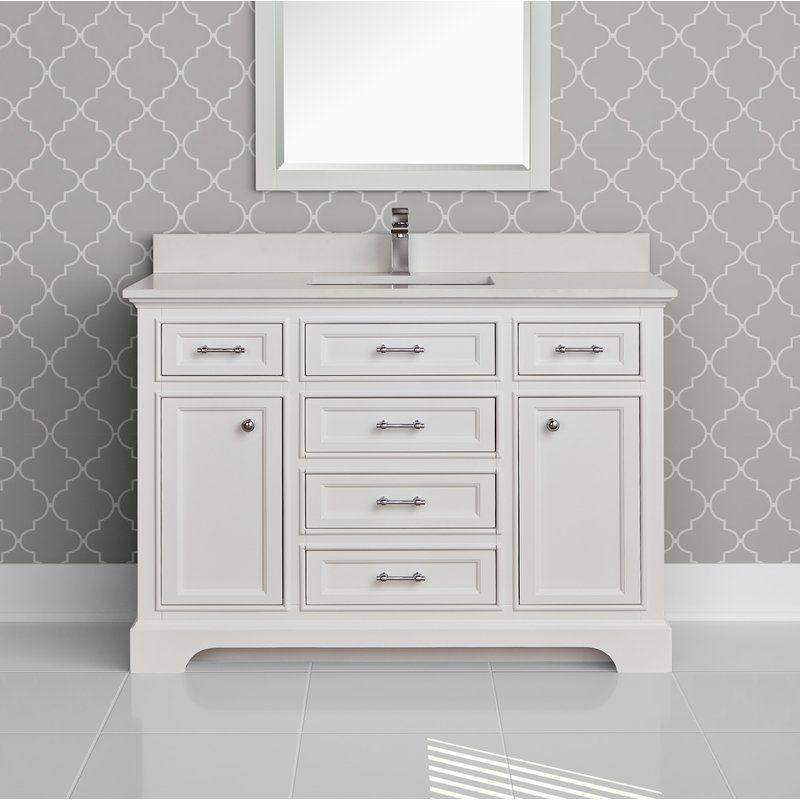 Seraphine 49 Single Bathroom Vanity Quartz Top Also In Gray Cabinet Single Bathroom Vanity Single Vanity