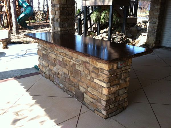 Outdoor Bar Island With Concrete Countertop For The