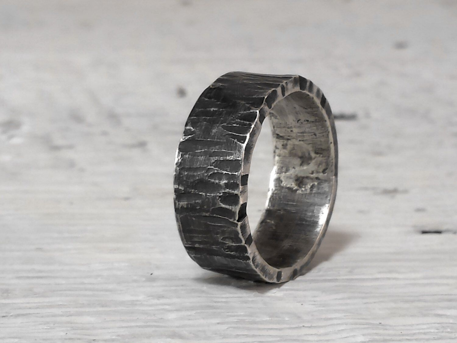 Men's Ring Wide Band Sterling Silver Rustic Wedding Band