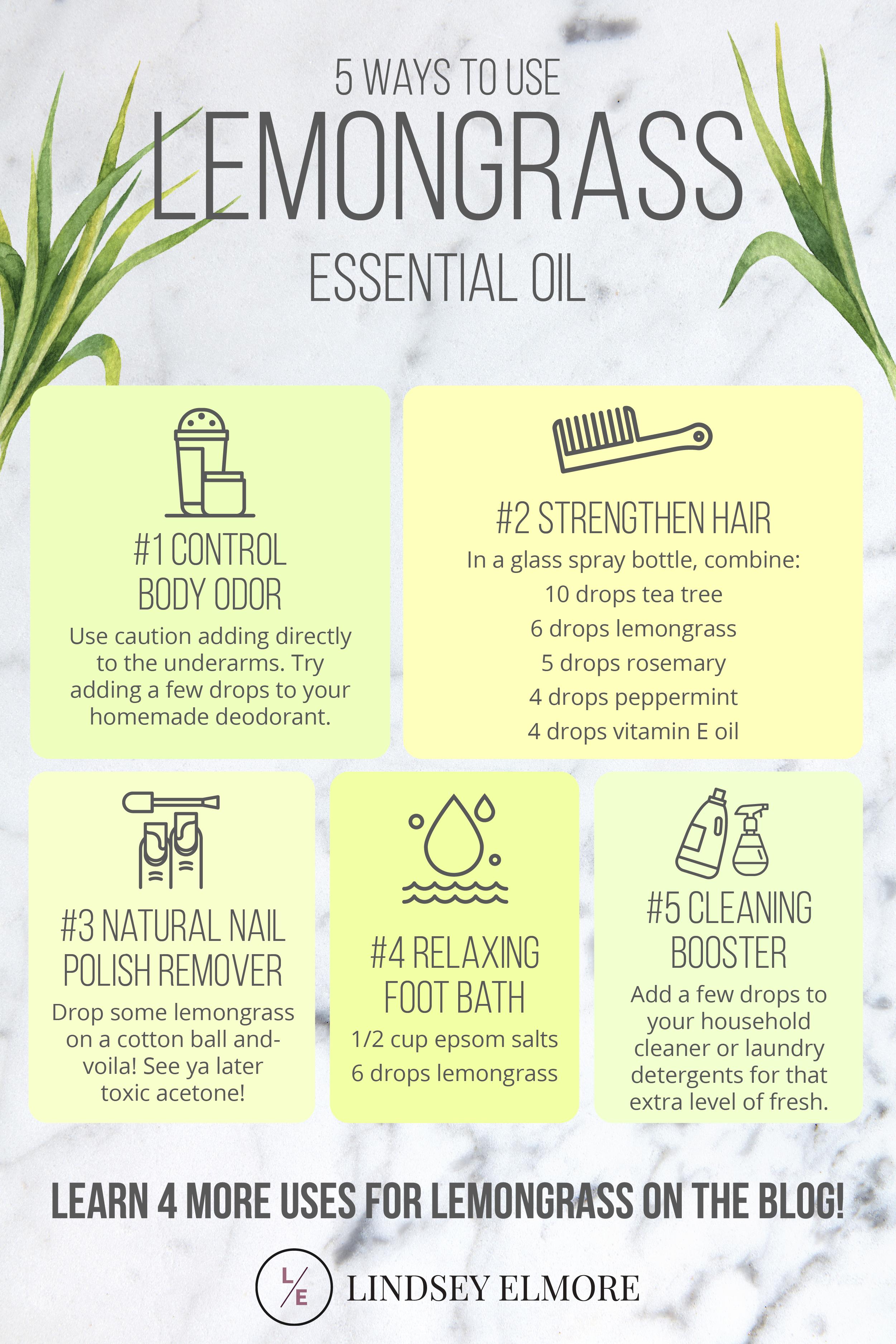 9 Ways To Use Lemongrass Essential Oil Lindsey Elmore Lemongrass Essential Oil Essential Oils Essential Oils Aromatherapy