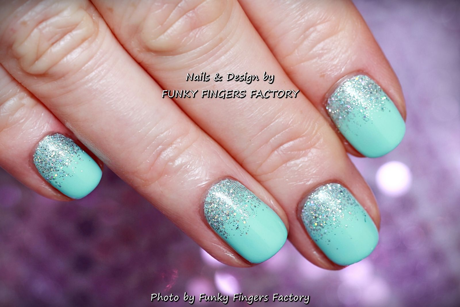 gelish mint glitter ombre nailsfunky fingers factory | nails