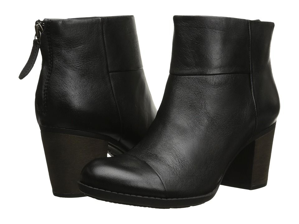 CLARKS CLARKS - ENFIELD TESS (BLACK SMOOTH LEATHER) WOMEN'S BOOTS. #clarks #