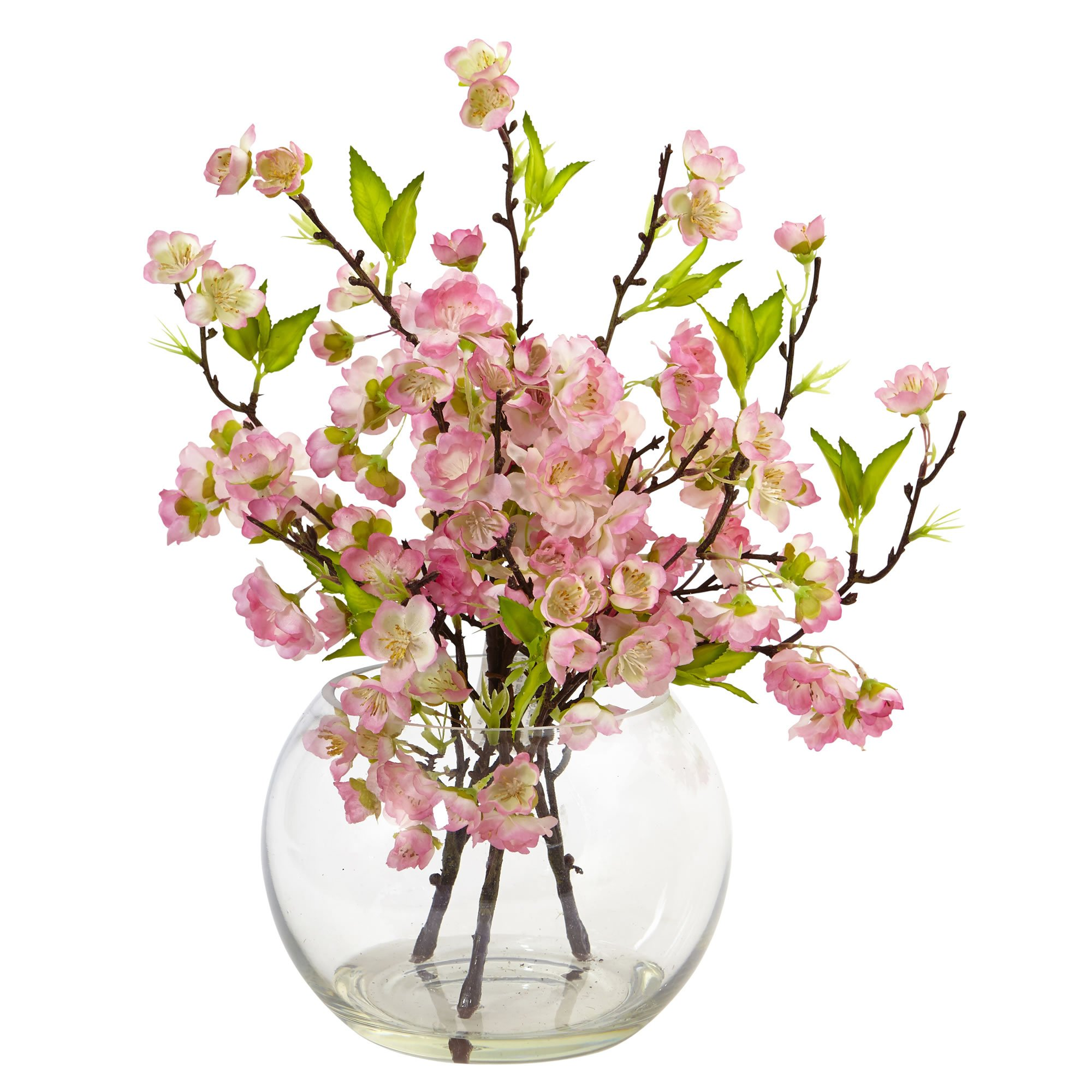 Artificial Flowers Cherry Blossom In Large Vase Silk Flowers Artificial Flowers Large Glass Vase Flower Arrangements