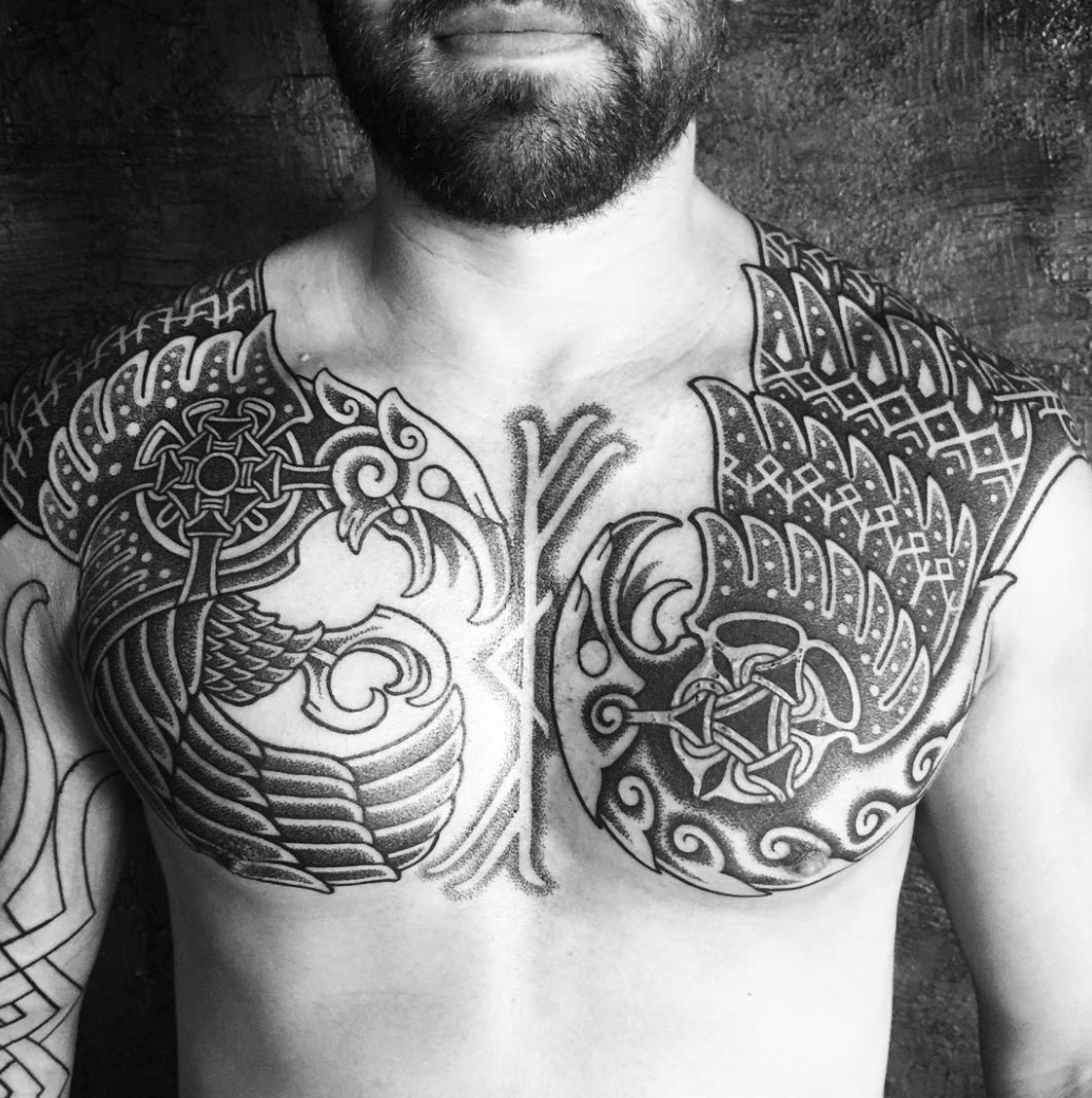 Blackhandnomad Chest Tattoo Ornamental Nordic Epic Beard Strong Barcelona Tattoos Tattooist Viking Tattoos Scandinavian Tattoo Tattoos