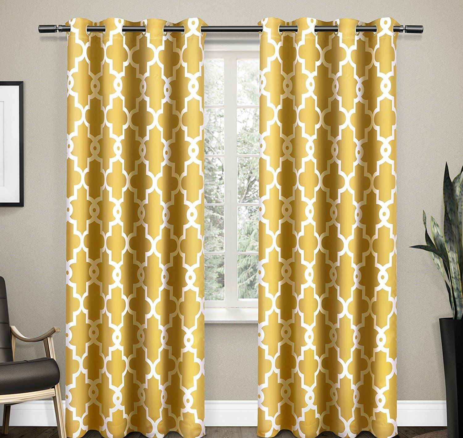 96 Inch Sundress Yellow White Moroccan Curtains Panel Pair Set