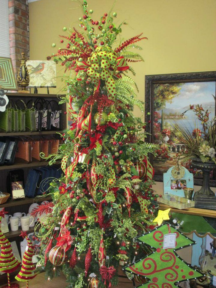 Lime Green Decorated Christmas Trees Lime Green Red Tree