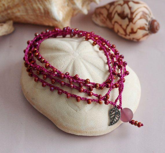 SALE Crochet Bracelet Crochet Necklace Crochet por PJsPrettys
