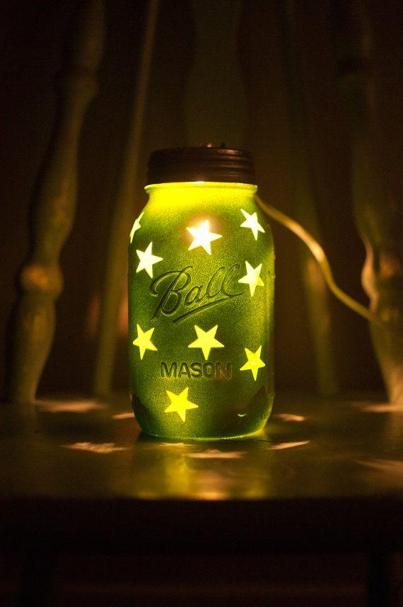 Mason Jar Night Light with star pattern