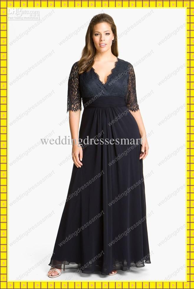 8d649d8ea47 Wholesale Plus Size Grace Lace Chiffon Black Short Sleeves Long Evening  Prom Dresses Deep V-Neck Mother Gown