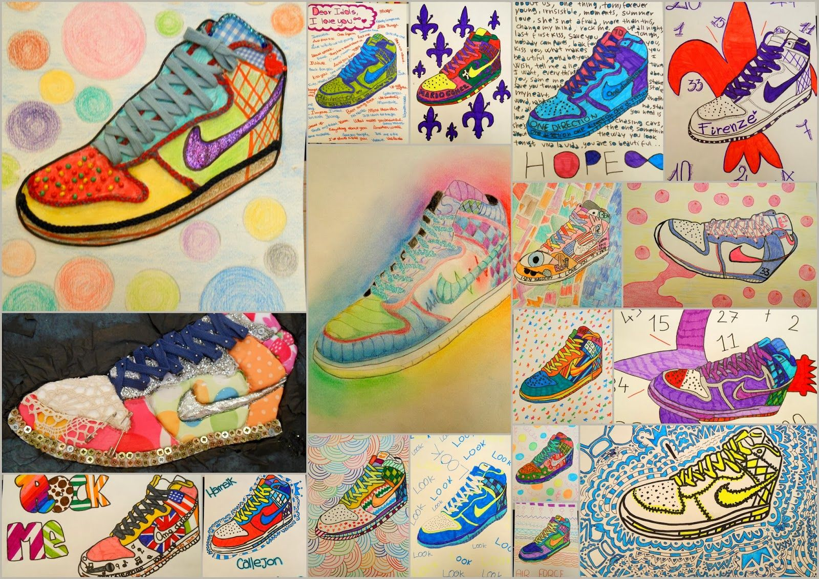 Contour Line Drawing Shoes Lesson Plan : Shoe art by middle high school students. great inspiration for our