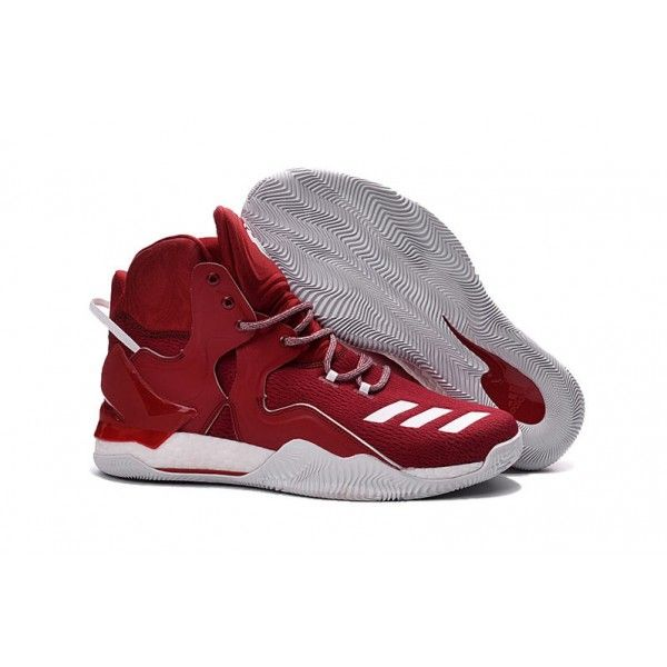 authentic adidas d rose 7 basketball shoes red white for mens