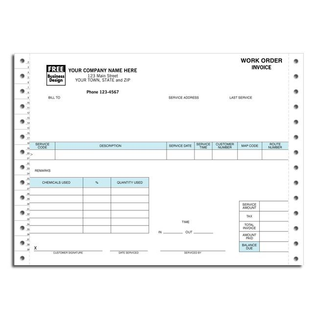 2 Part Continuous Pest Control Work Order Invoice  free shipping - work order form