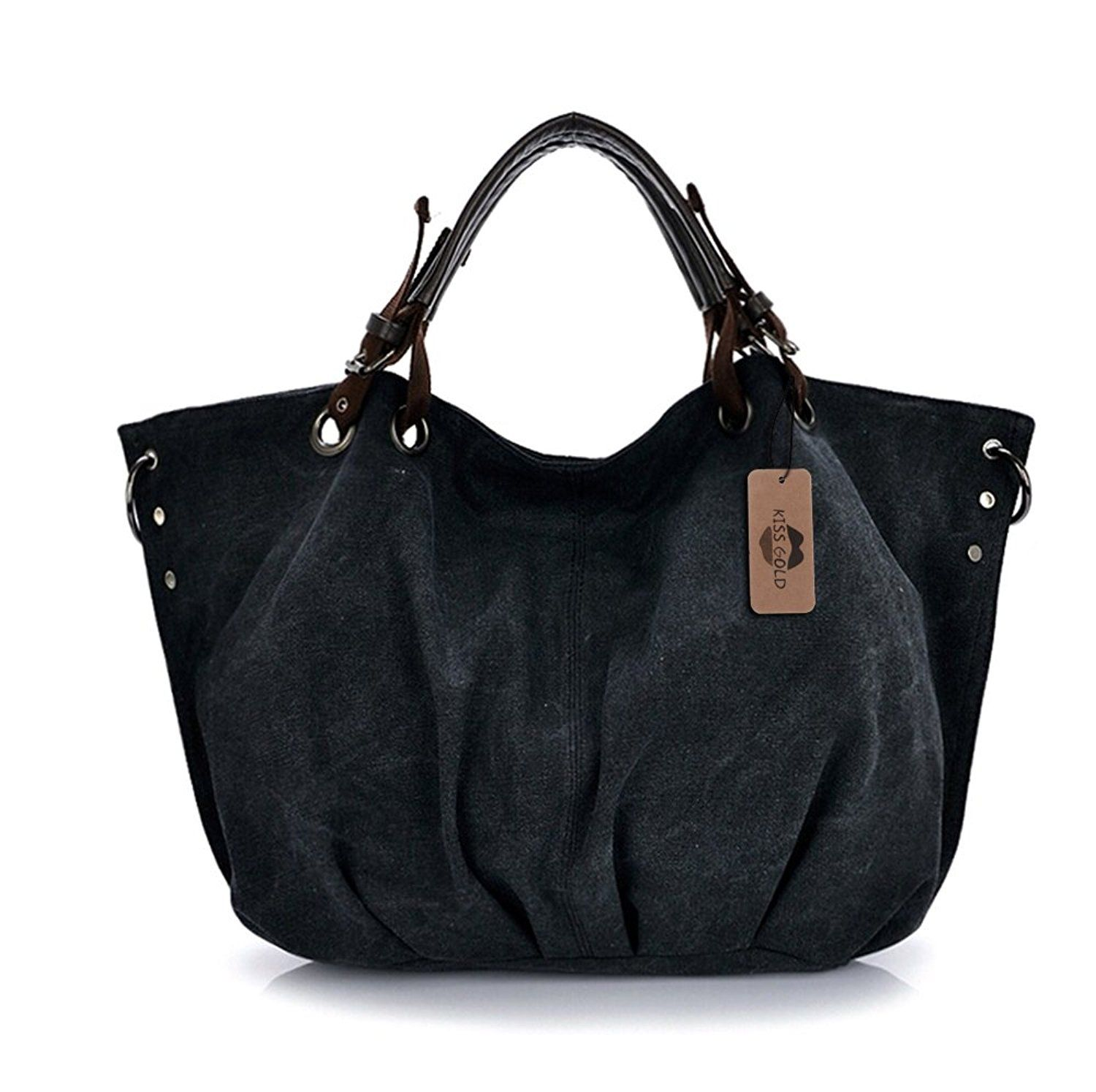 5c293cebef KISS GOLD(TM) European Style Canvas Large Tote Top Handle Bag Shopping Hobo  Shoulder Bag