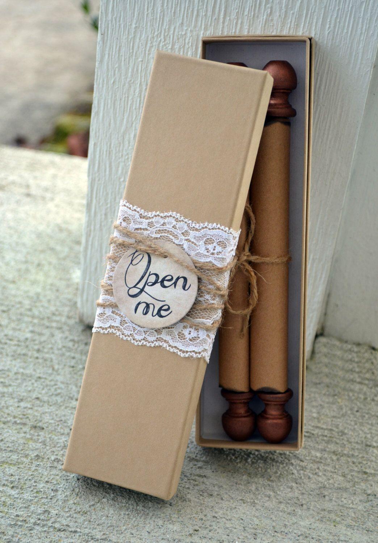 Scroll Wedding Invitation Custom Personalized Box Wooden Invite ...