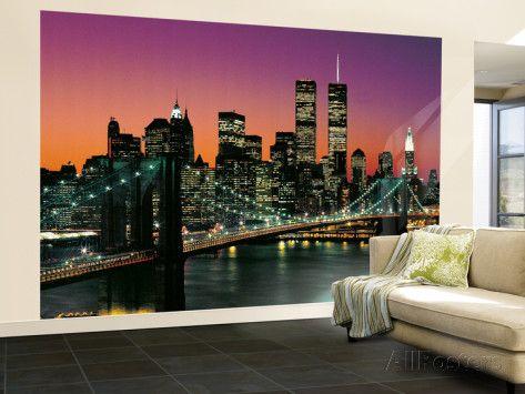 New York City Brooklyn Bridge Sunset Wall Mural | Brooklyn bridge ...