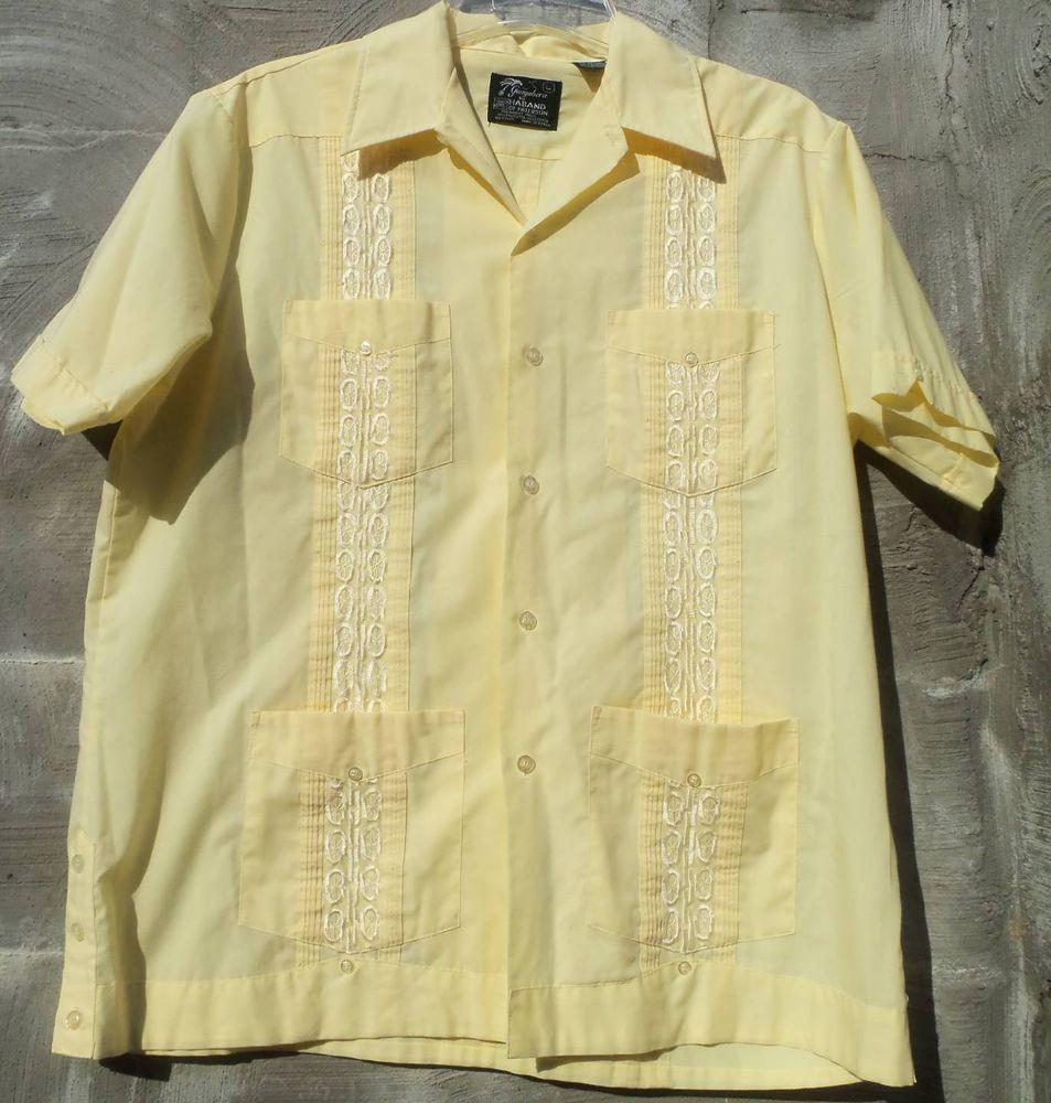9aef3e62 Guayabera VINTAGE MIAMI CUBAN Rockabilly Hipster Cigar Wedding Shirt Size  LARGE
