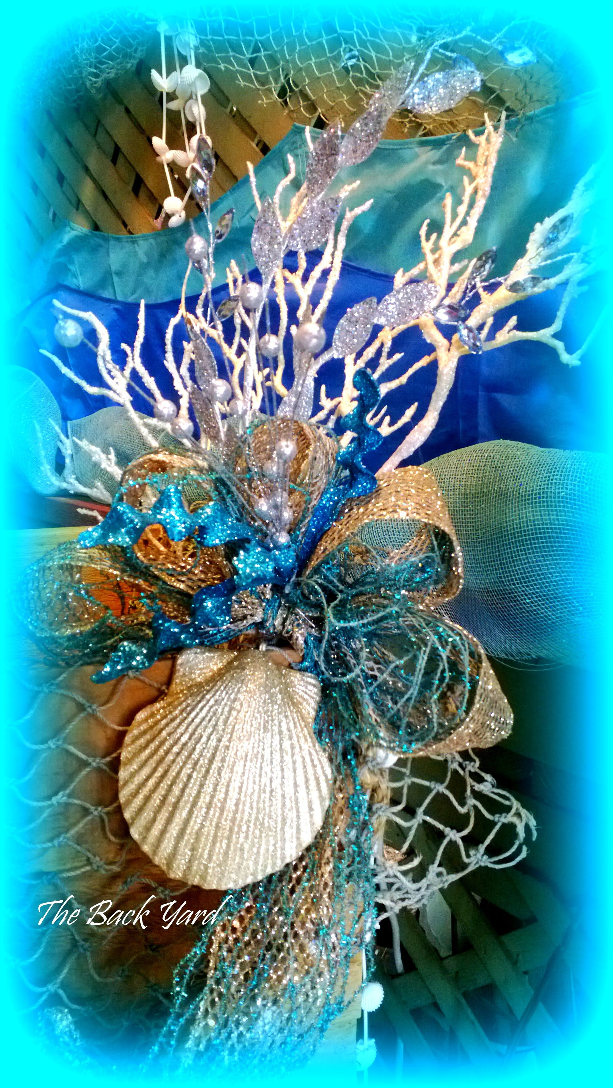 Under The Sea With Coral, Aqua And Champagne Fish Net