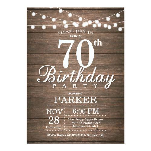 Rustic 70th birthday invitation string lights wood rustic birthday rustic 70th birthday invitation string lights wood filmwisefo