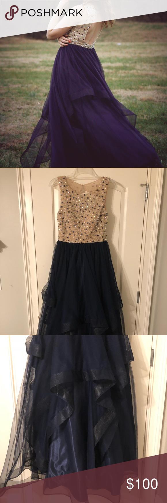Bee darlin beaded navy prom dress with ruffles beautiful prom dress