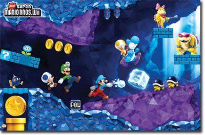 (22x34) Nintendo Super Mario Bros Wii Cave Video Game Poster Print @ niftywarehouse.com #NiftyWarehouse #Mario #SuperMario #Nintendo #VideoGames #Gaming #MarioBrothers