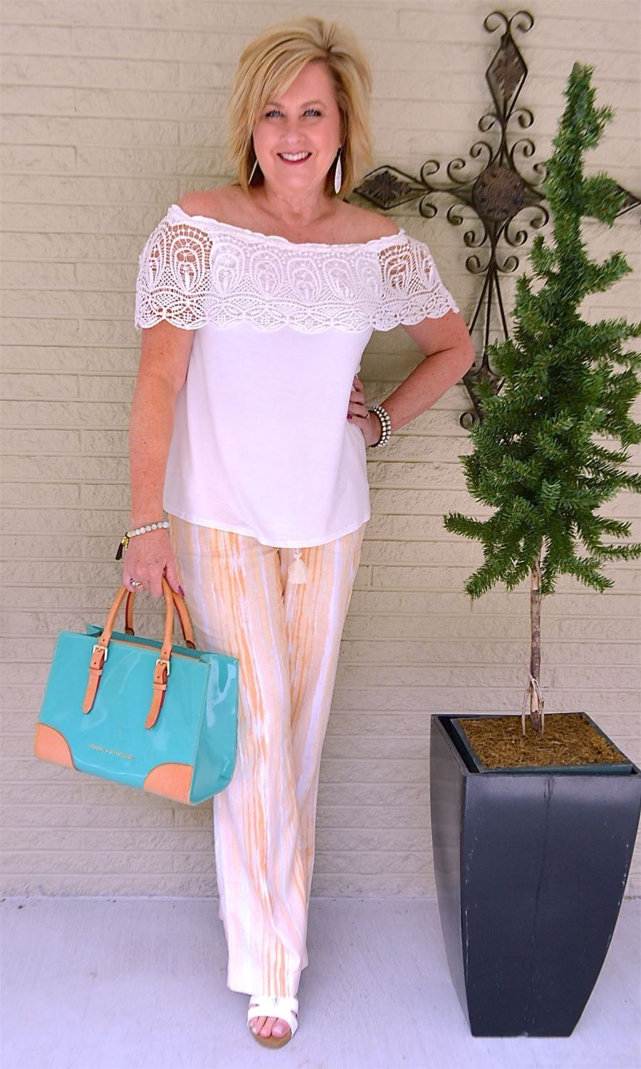 LINEN AND LACE - 50 IS NOT OLD | Off The Shoulder | Feminine | Turquoise | Summer | Fashion over 40 for the everyday woman