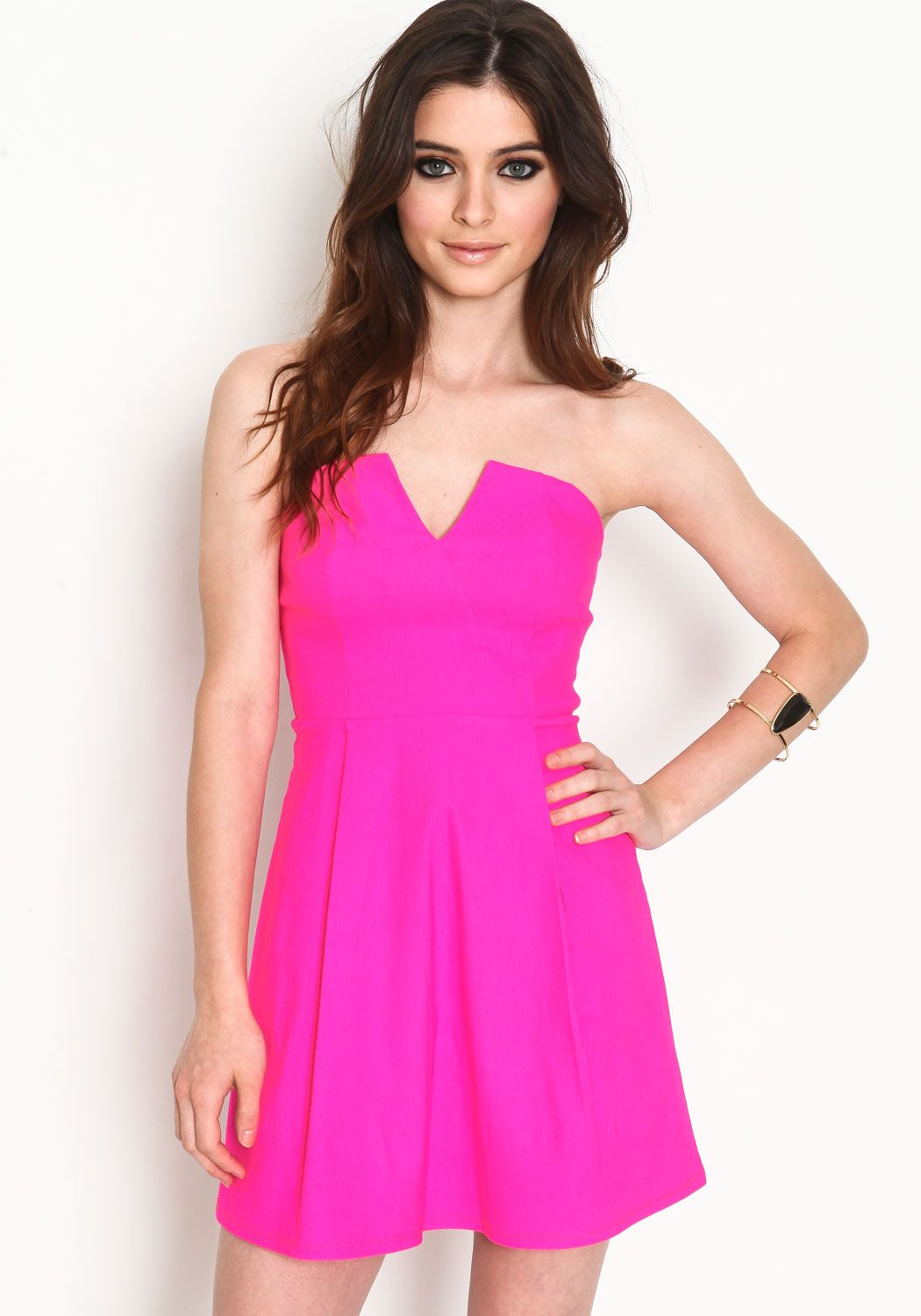 STRAPLESS V CUT OUT DRESS | ModMint -Fashionable young women's clothing