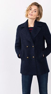 Vestes et manteaux femme. Esprit   Caban en maille bouclette, laine mélangée b82bbfc15e7