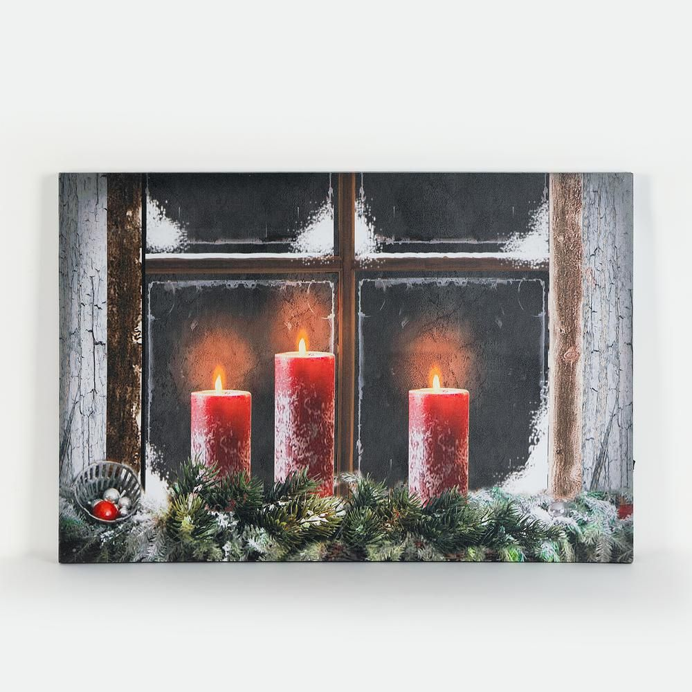 Winsome House 16 In 3 Candles Canvas Print With Led Lights Wh145 The Home Depot Candle Canvas Painted Candles Led Christmas Lights