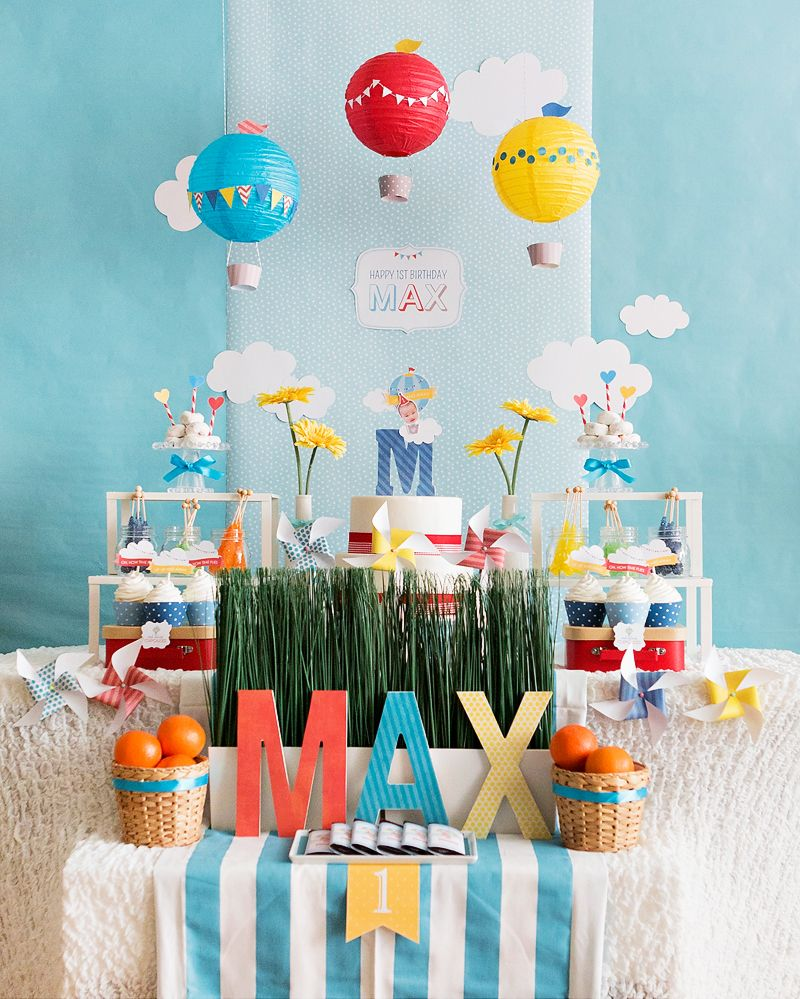 korean baby boy bedroom. Sweet  Whimsical Hot Air Balloon First Birthday Korean Dol Hostess with the Mostess Baby Boy