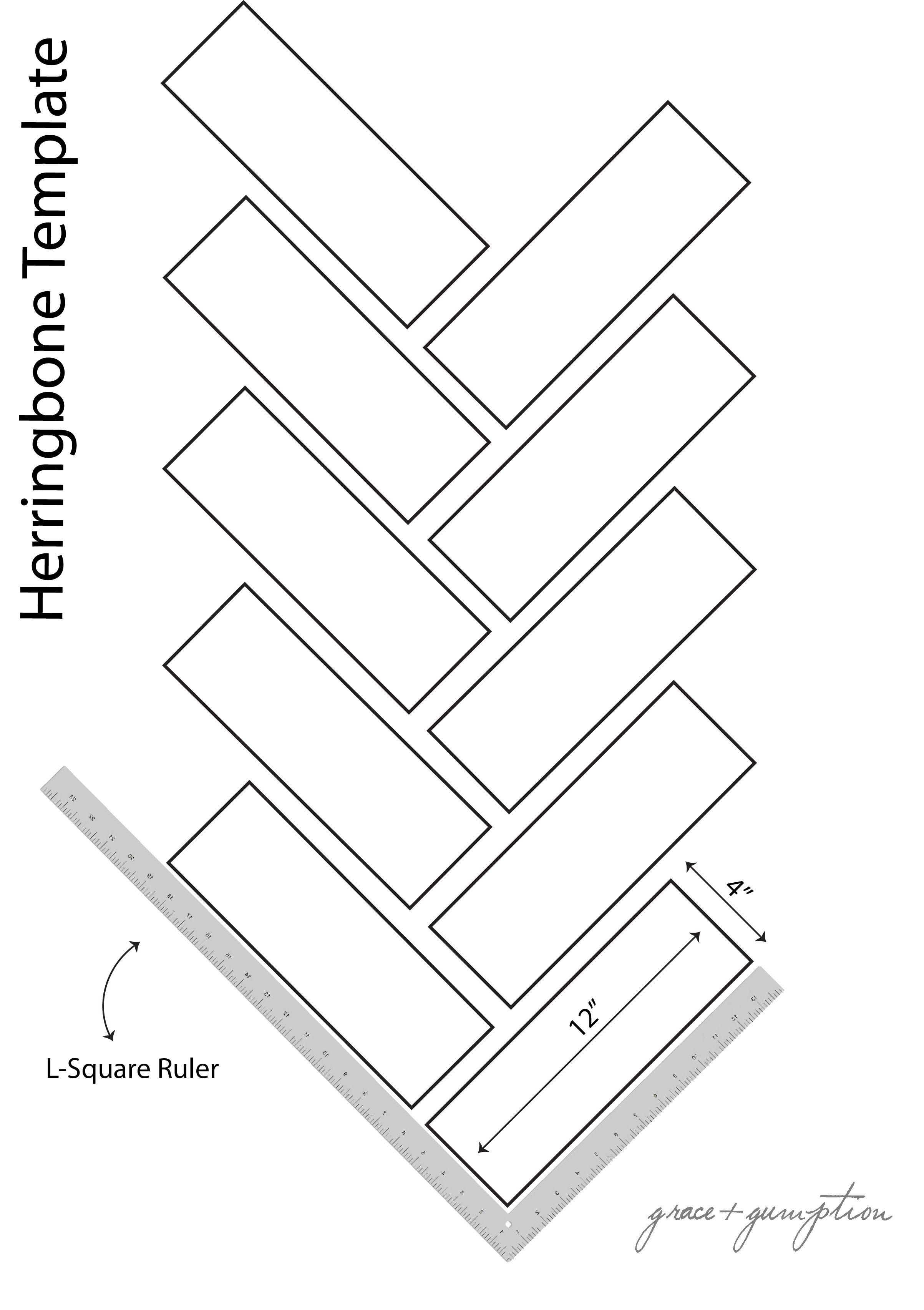Herringbone Pattern Template via Grace Gumption Furniture