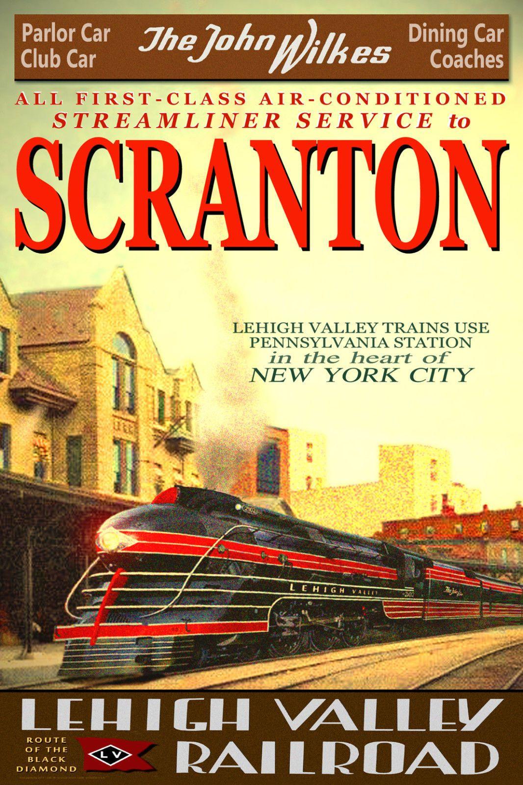 SCRANTON Pennsy Lehigh Valley Railroad JOHN WILKES Train Poster Art Print 124