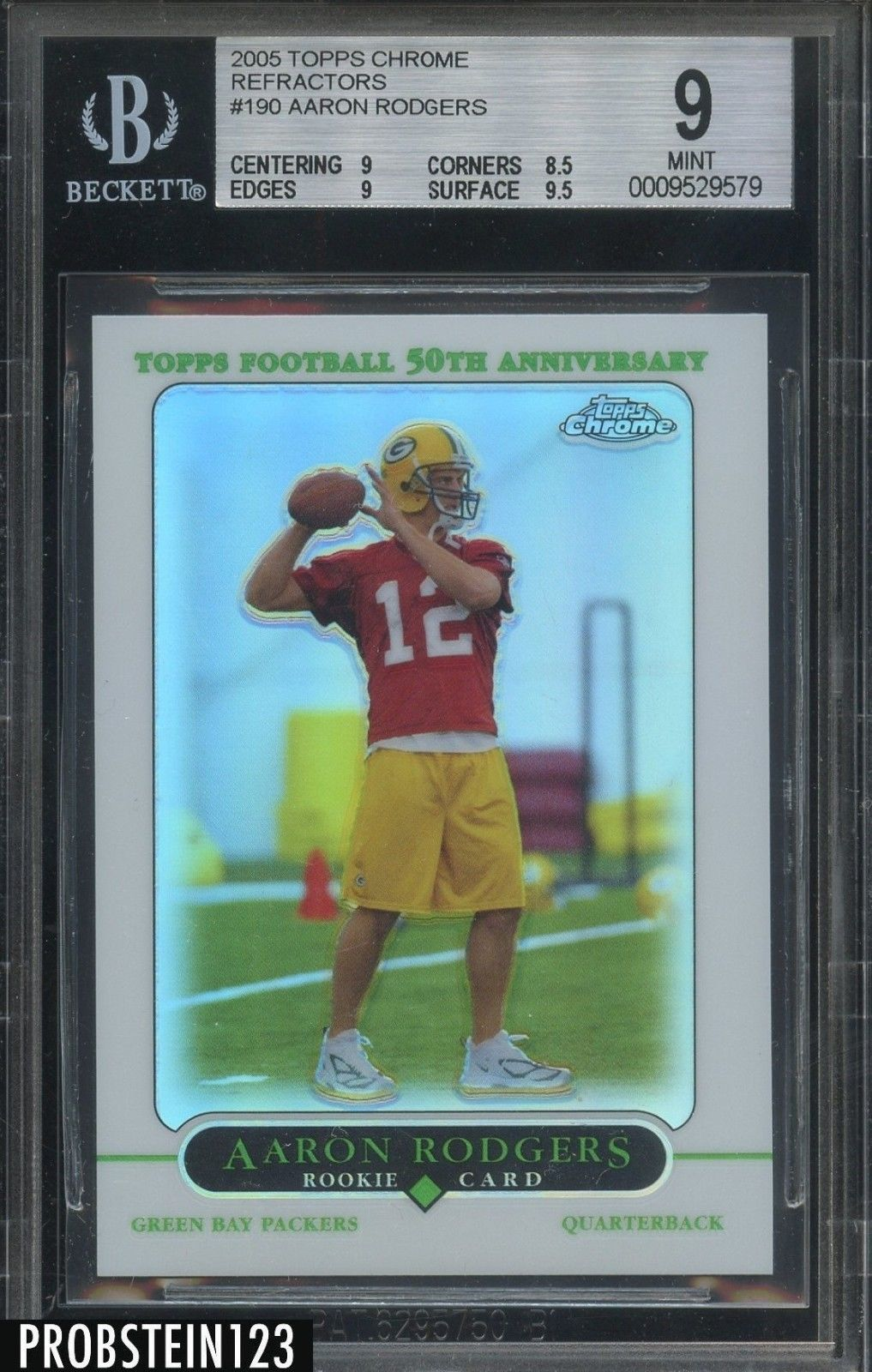 Sportsmemorbilia 2005 Topps Chrome Refractor 190 Aaron Rodgers Rc Rookie Bgs 9 Mint W 9 5 Collectibles Aaron Rodgers Football Cards Sports Cards