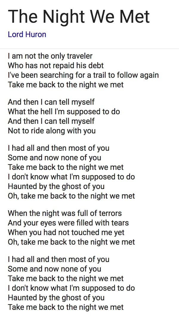 Take Me Back To The Night We Met : night, Night, Lyrics, Huron, Lyrics,, Music