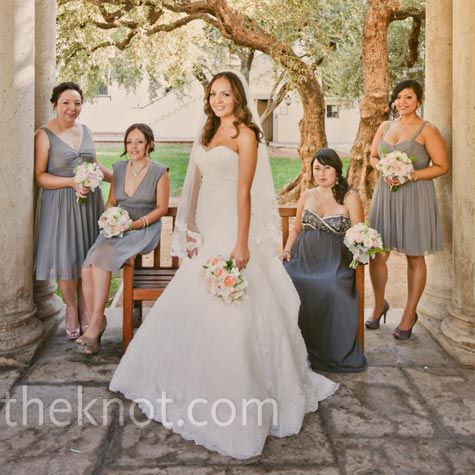 Maybe grey dress wedding ideas pinterest gray dress grey three of dinas bridesmaids wore grey dresses from j crew while the fourth found her maternity dress at davids bridal mightylinksfo