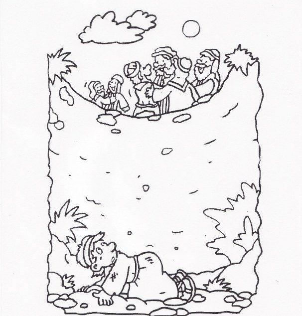 Joseph And The Well Coloring Page Sketch