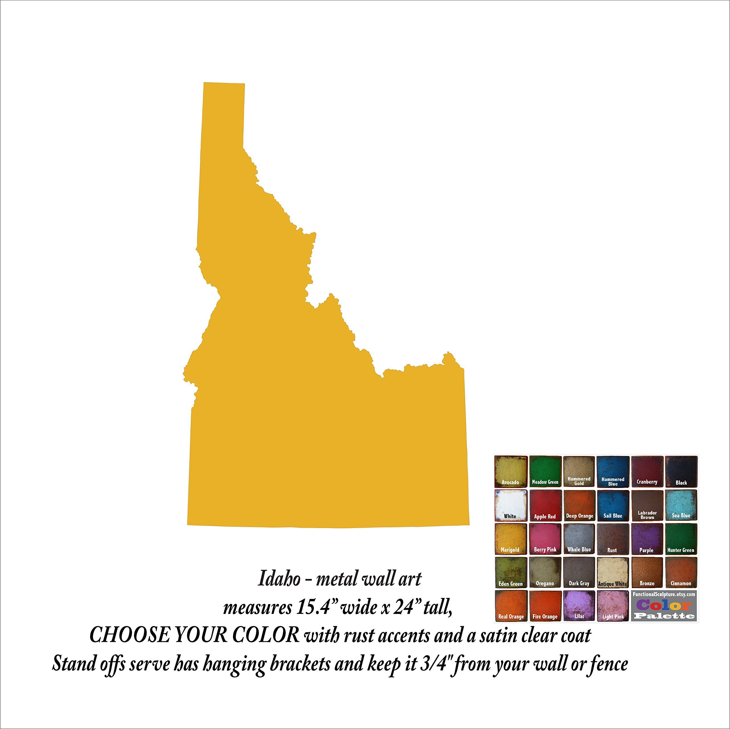 24 inch tall - Idaho state map metal wall art - Handmade - Choose ...