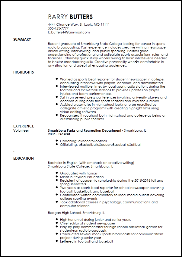 Free Entry Level Radio Host Resume Template Resumenow Overused Words Resume Template Sales Resume Examples