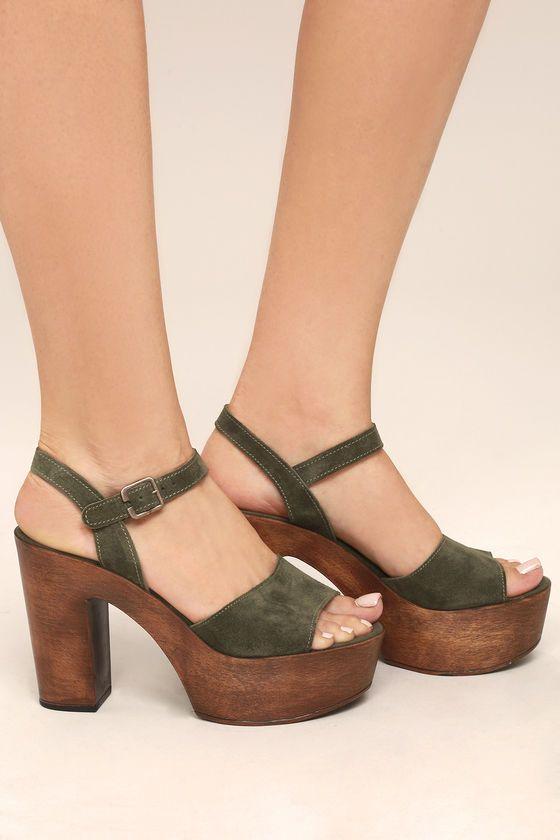 c8dc9e0eab9f Steve Madden Lulla Olive Suede Leather Platform Sandals