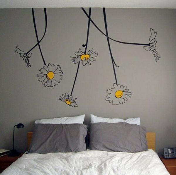 Blumen gemalt an der Wand im Schlafzimmer TwinCaro Pinterest