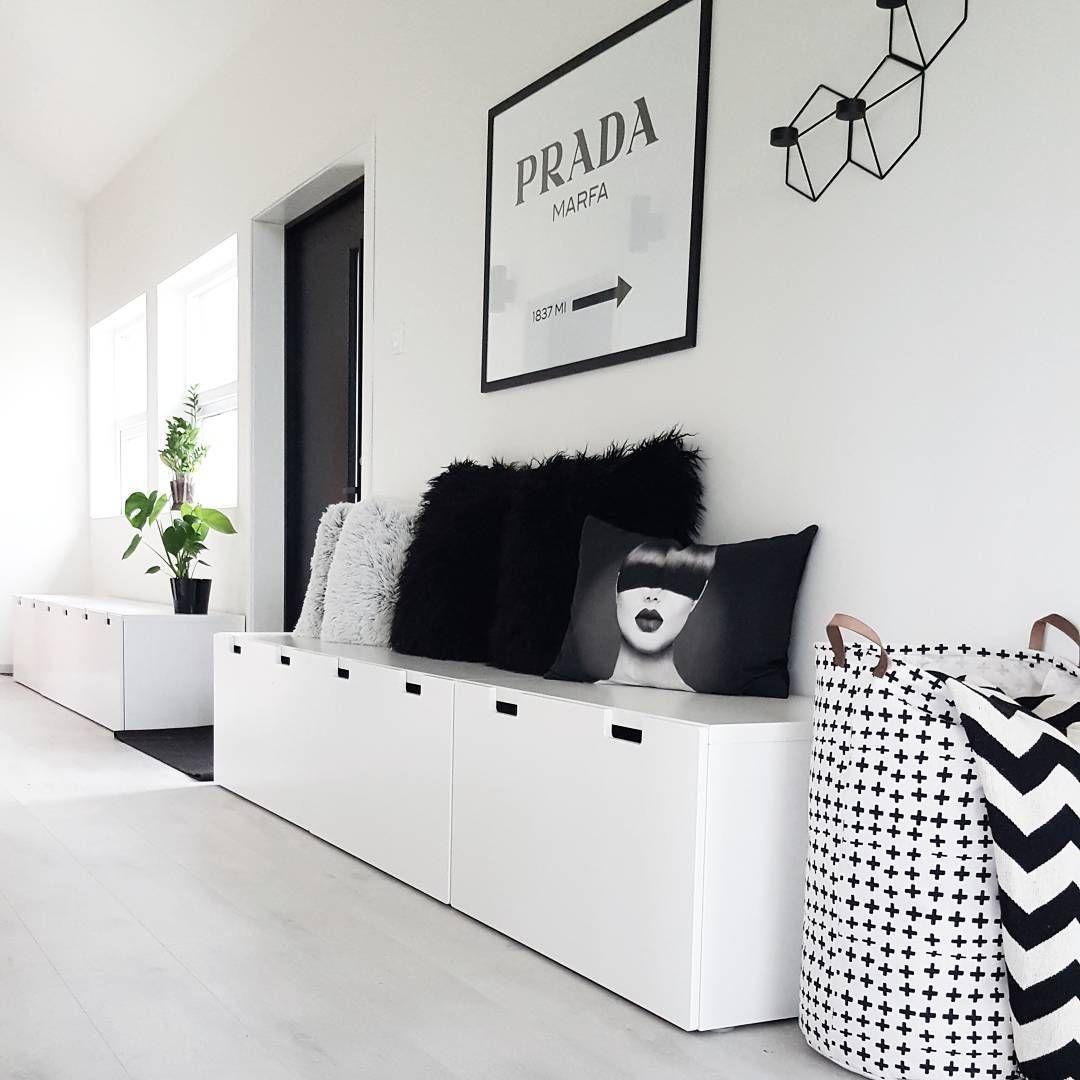 Hallway storage and seating  Ikea uStuvau cabinets in hallway kubehus Más  Hallway  Pinterest