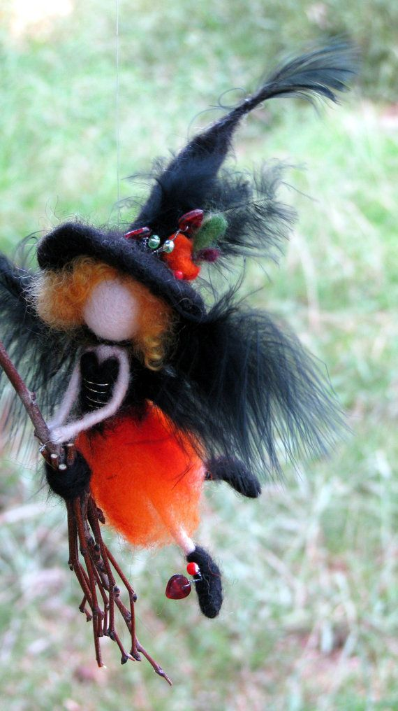 Halloween little witch ornament Mobile Needle felted ...