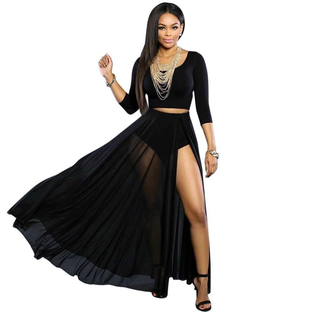 Black Sheer Maxi Skirt 2 Pieces-Black-028482-31