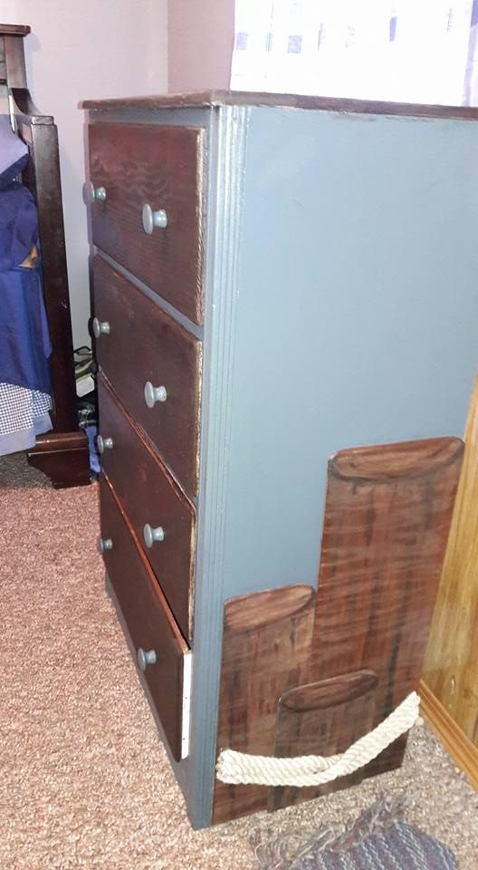 Dresser redo I did for grandson's nautical/pirate nursery-room