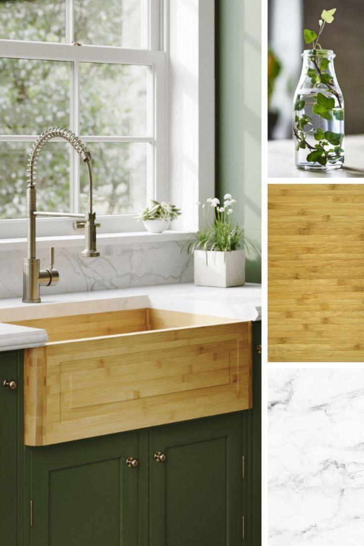 895 Single Bowl Bamboo Apron Sink Modern white bathroom