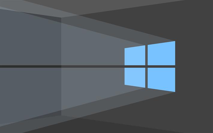 Download Wallpapers 4k Windows 10 Gray Background Blue Logo Microsoft Minimal Besthqwallpapers Com Windows Wallpaper 4k Wallpapers For Pc Wallpaper Windows 10