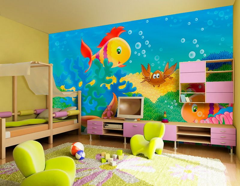 Impressive kids room wallpaper decorating inspired from marine cartoon stylish bedroom decor