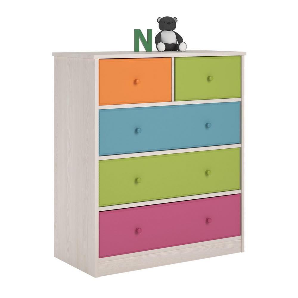 Ameriwood Allison 5 Drawer White Dresser White Finish Fabric Bins Fabric Storage Bins Storage Bins
