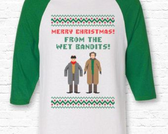Funny Wet Bandits Merry Christmas Quote Quote Raglan American Apparel 3/4  Sleeve Home Alone